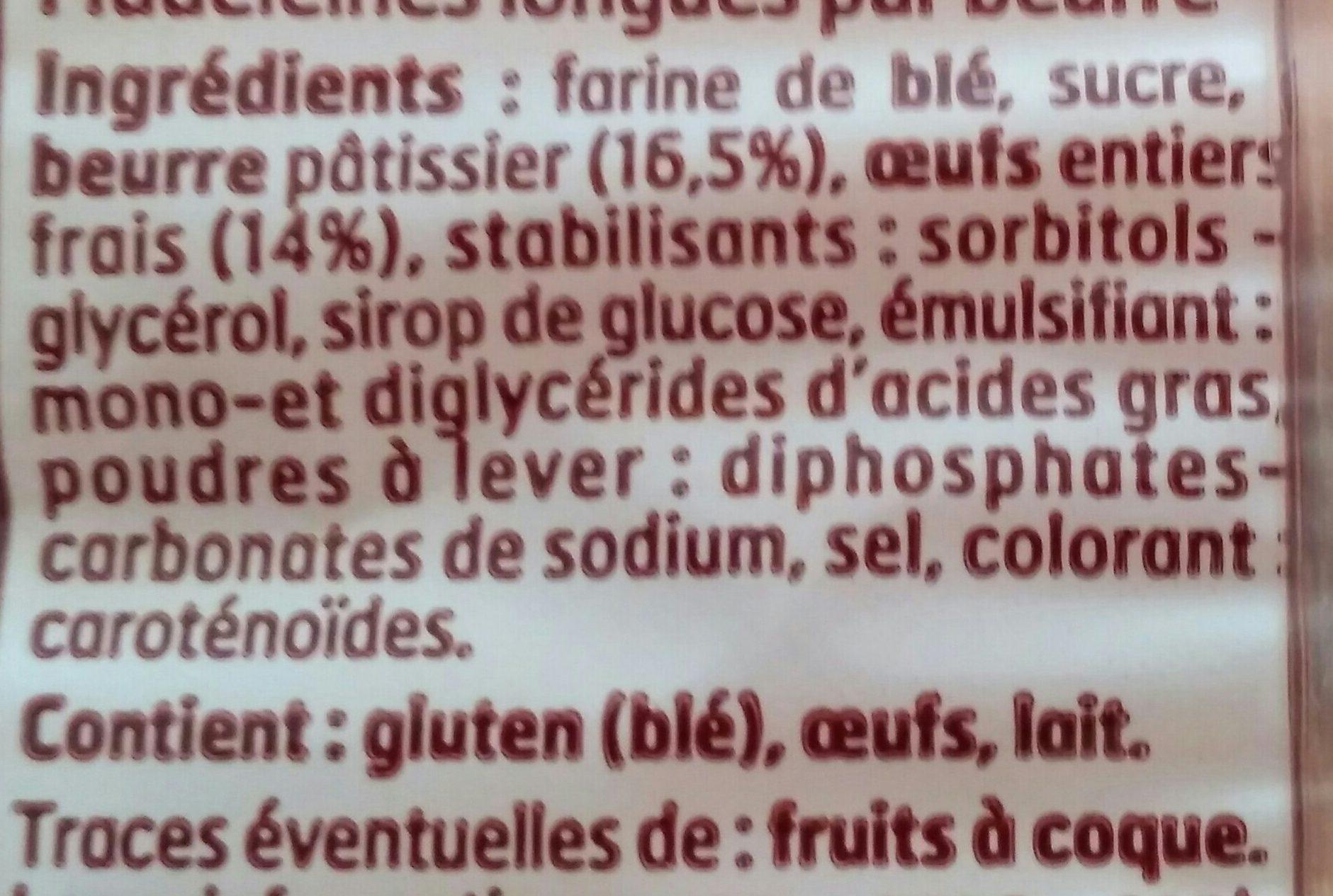 Madeleine longue pur beurre - Ingrédients - fr