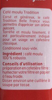 Café moulu tradition corsé - Nutrition facts - fr