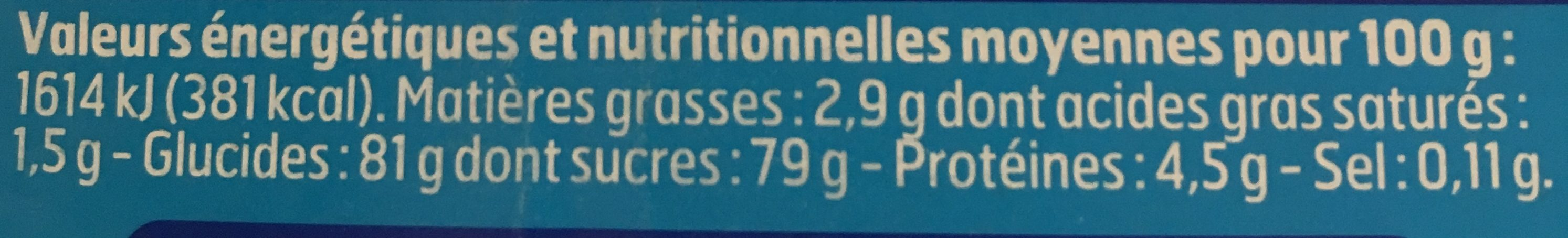 Poudre instantanee - Nutrition facts