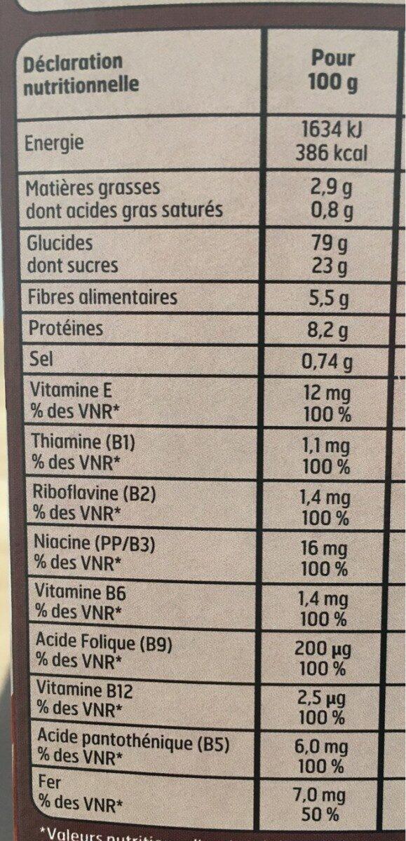 Boules de céréales goût Chocolat - Informations nutritionnelles - fr