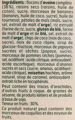 Muesli croustillant aux 7 fruits - Ingrédients - fr