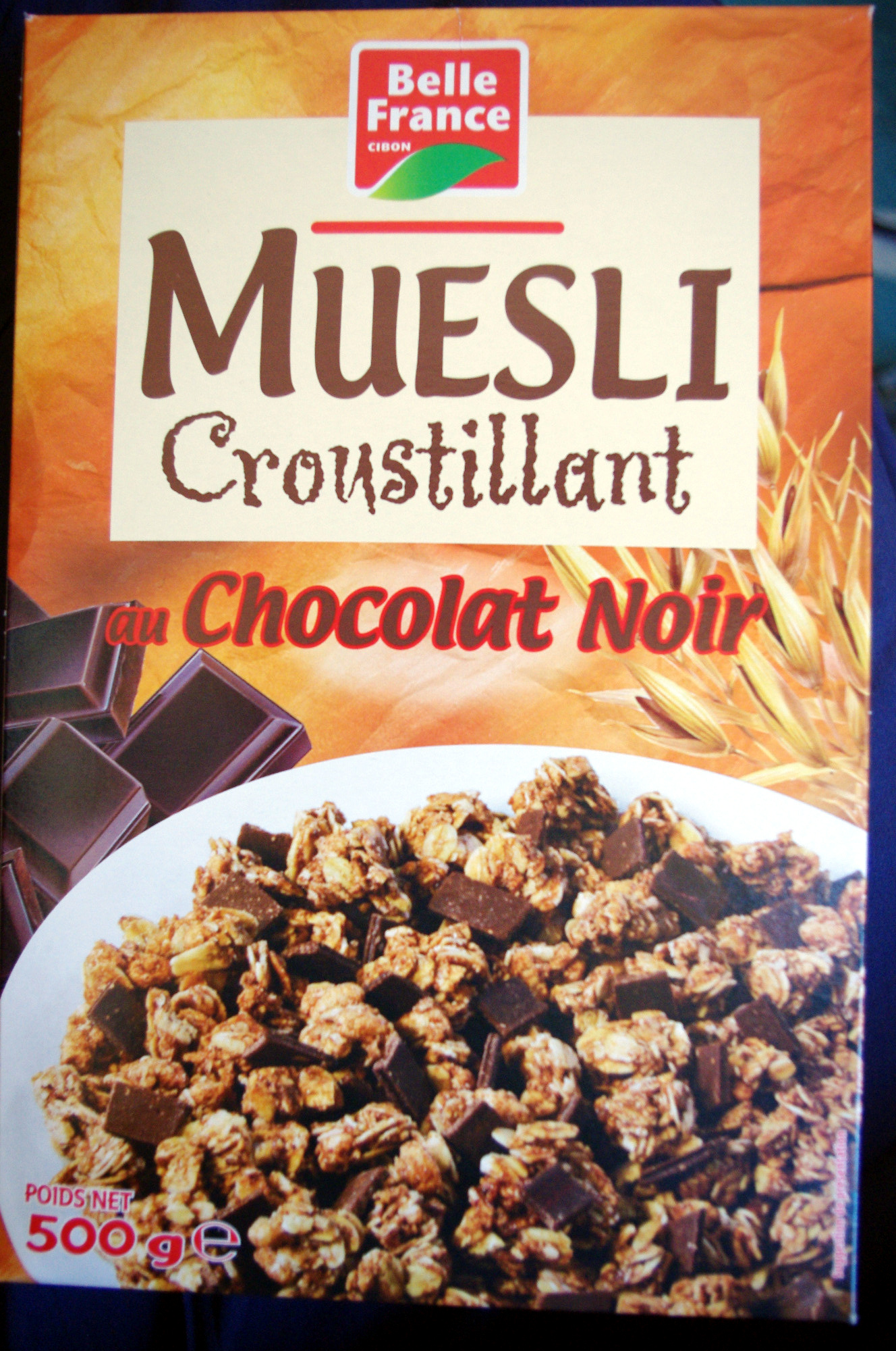 muesli croustillant au chocolat noir belle france 500 g. Black Bedroom Furniture Sets. Home Design Ideas