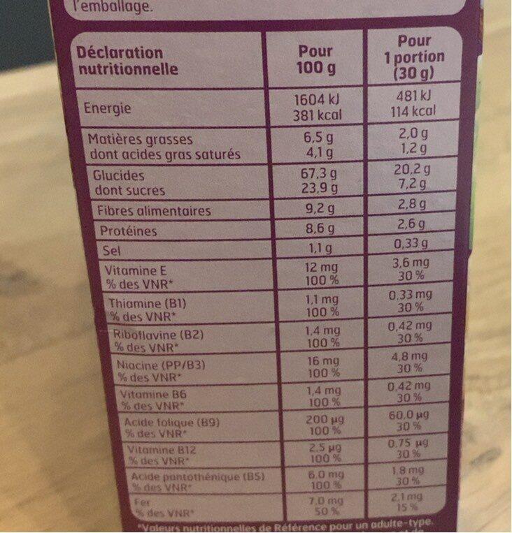 Fruits & fibres au blé complet - Informations nutritionnelles - fr