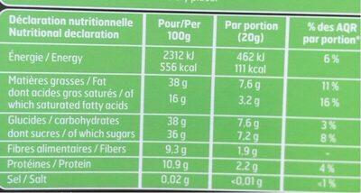 Chocolat Noir Amandes Entières Pur Beurre de Cacao - Informations nutritionnelles