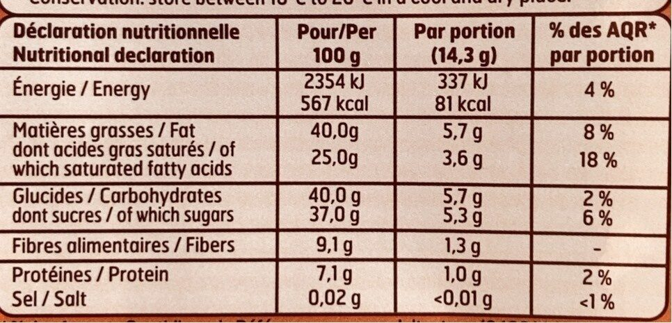 T. 200 NR Corse Dessert BF - Nutrition facts - fr