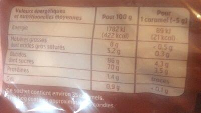Caramel Dur Crem. Frai. B. F - Informations nutritionnelles - fr