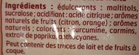 Bonbons goûts fruits - Ingrédients