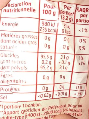 Bonbons goûts fruits - Informations nutritionnelles