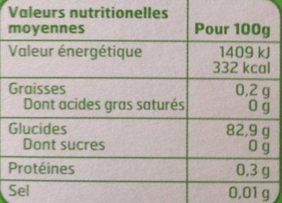 Fécule de pomme de terre - Nutrition facts - fr