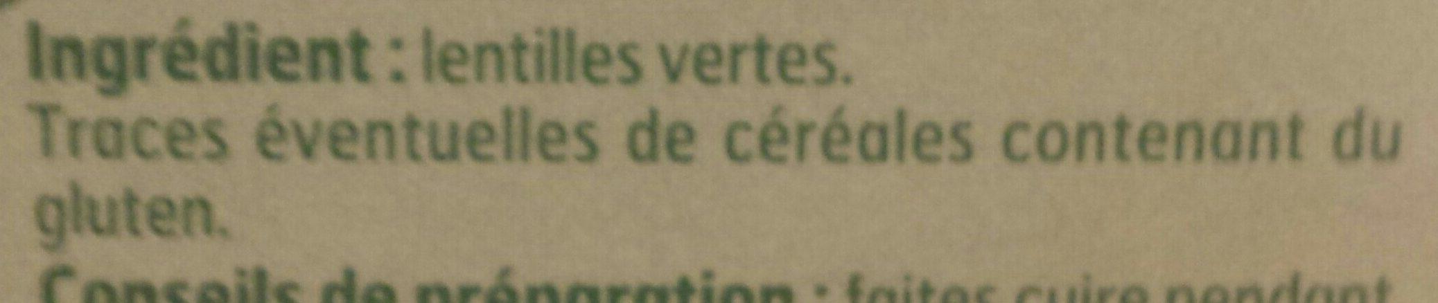 Lentilles vertes de France - Ingredients