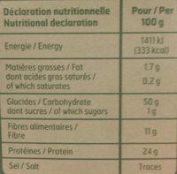 Lentilles vertes de France - Nutrition facts