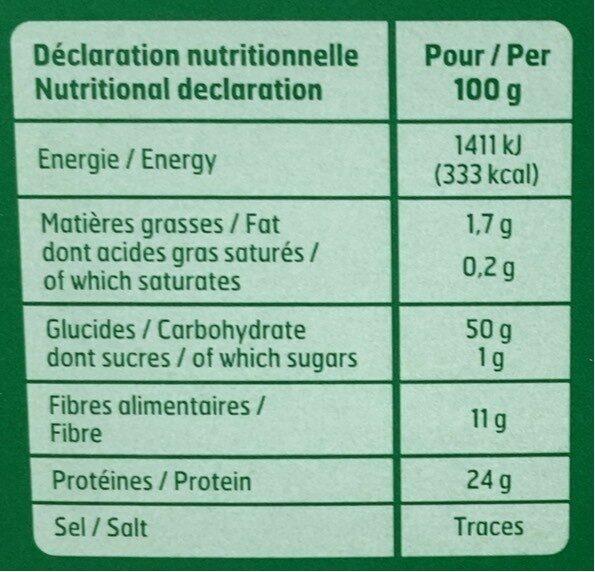 Lentilles vertes de France - Informations nutritionnelles - fr