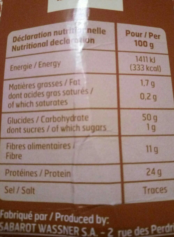 Lentilles blondes - Informations nutritionnelles