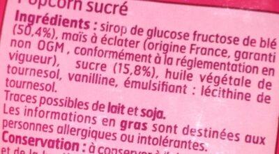 Popcorn Sucré - Ingredienti - fr