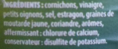 Cornichons Extra-Fins au Vinaigre Aromatisé - Ingrédients