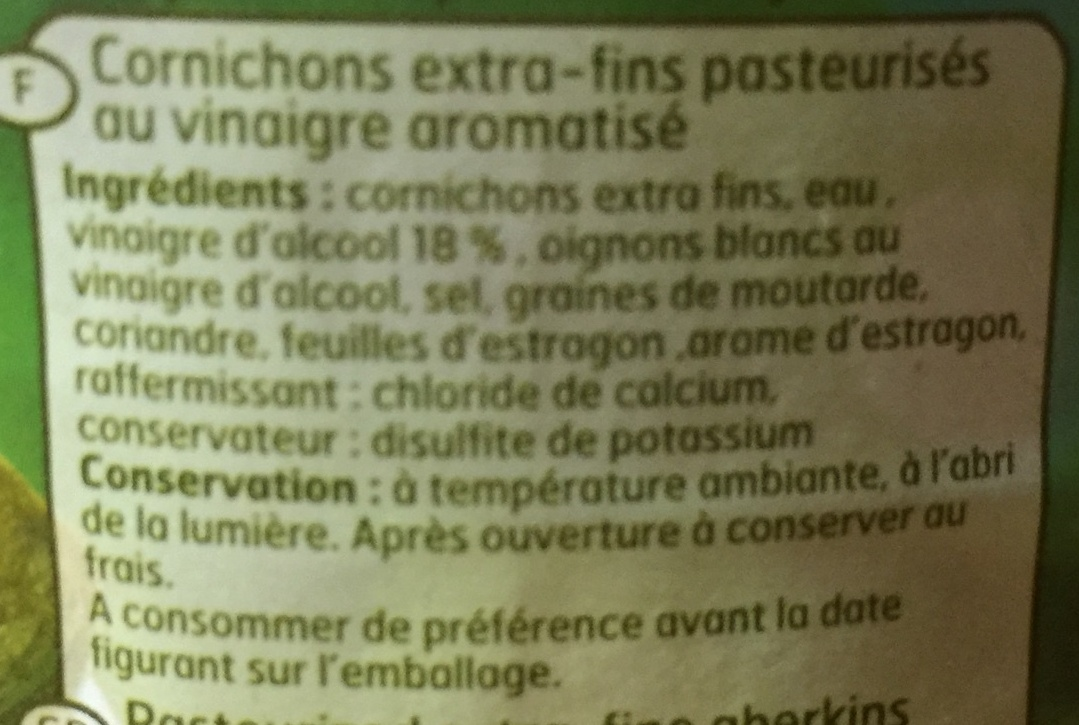 Cornichons extra-fins - Ingredients