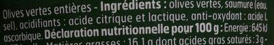 Olives Vertes entières - Ingrédients - fr