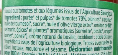 Sauce Provençale Bio - Ingrédients