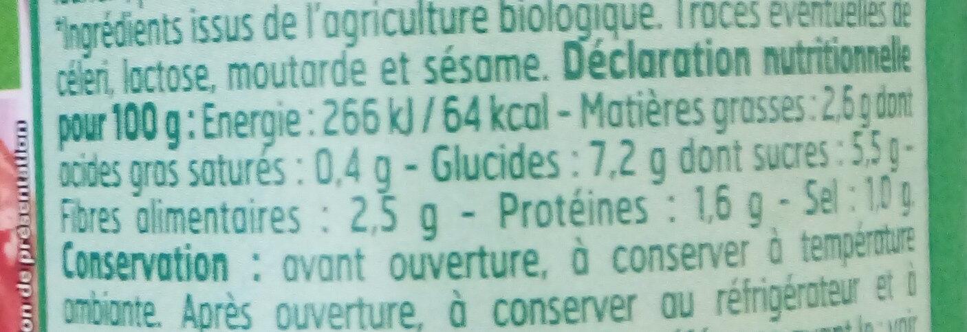 Sauce Provençale Bio - Informations nutritionnelles