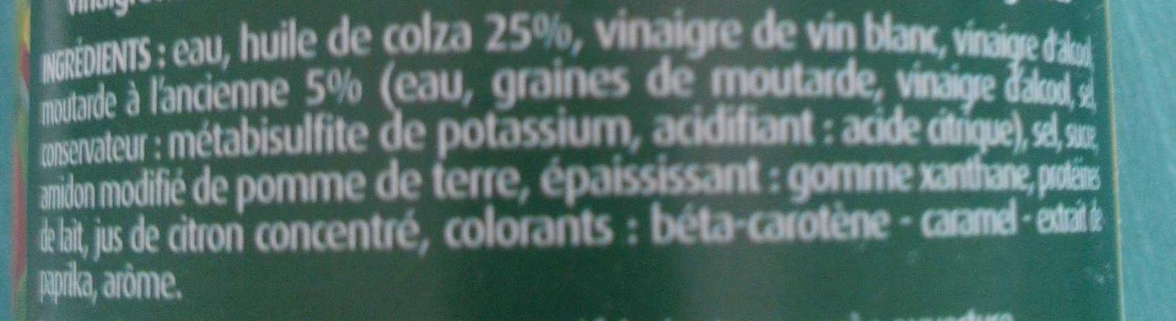 Vinaigrette moutarde à l'ancienne allégée en matière grasses - Ingrédients