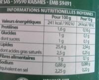 Vinaigrette moutarde à l'ancienne allégée en matière grasses - Informations nutritionnelles