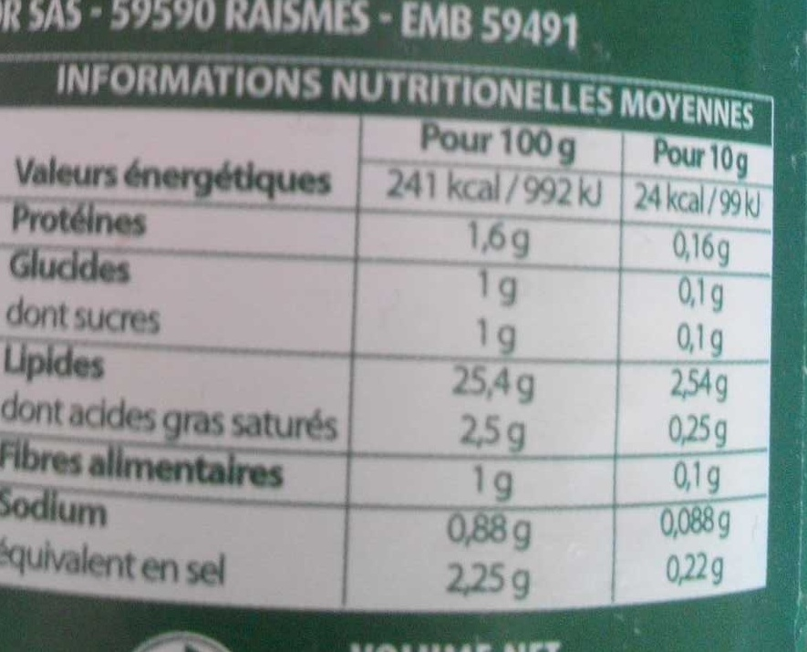 Vinaigrette moutarde à l'ancienne allégée en matière grasses - Informations nutritionnelles - fr