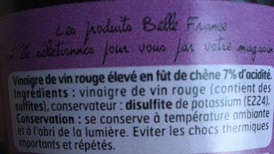 Vinaigre de vin rouge 7% acidité - Ingrédients
