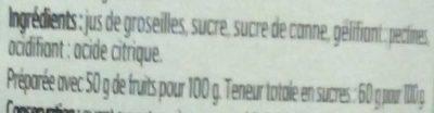 Gelée Extra Groseilles - Ingredients