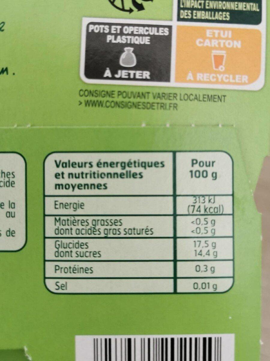 Dessert de fruits Pomme Pêche - Nutrition facts - fr