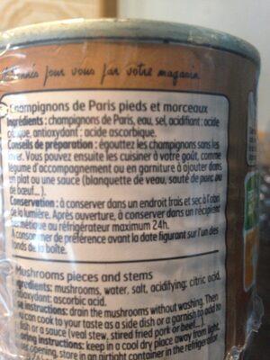 L.2 1 / 4 Champignons Pieds Morceaux Belle France - Ingrediënten