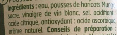 Pousse de haricots mungo - Ingrédients - fr