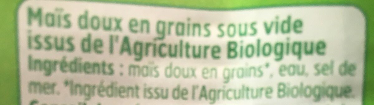 Mais doux Bio - Ingredients