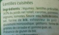 Lentilles cuisinées - Ingredients