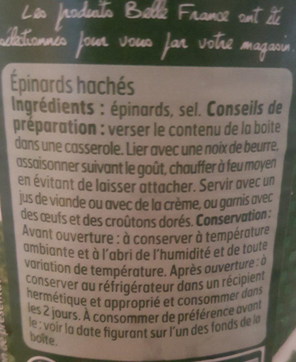 Épinards hachés - Ingrédients - fr
