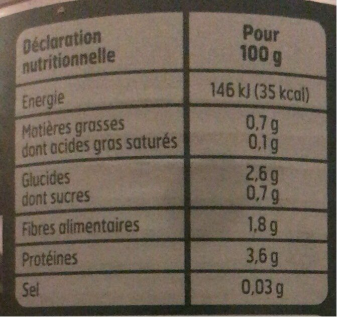 Épinards hachés - Informations nutritionnelles - fr