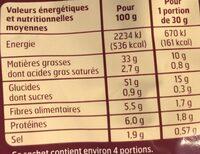 Chips saveur vinaigre - Informations nutritionnelles