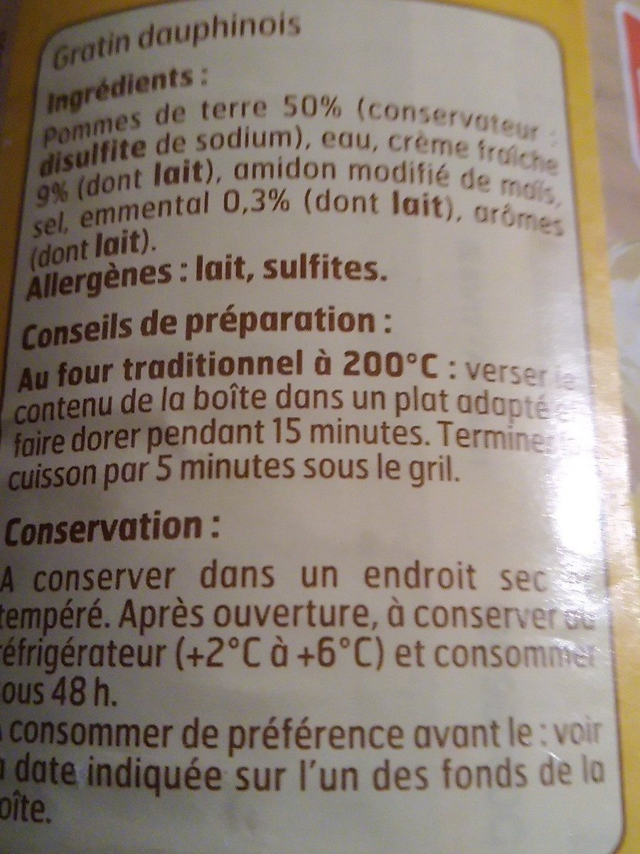 4 / 4 Gratin Dauphinois B. F - Ingredients