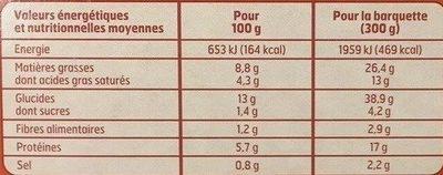 Lasagne à la Bolognaise - Voedingswaarden - fr