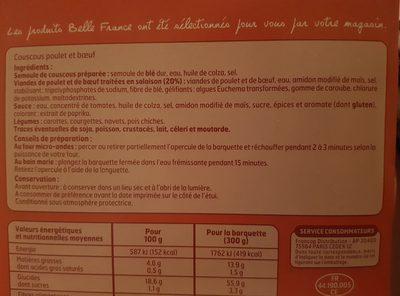 Couscous Poulet/Boeuf Micro Ondes 300g - Ingrédients