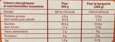 Couscous Poulet/Boeuf Micro Ondes 300g - Informations nutritionnelles