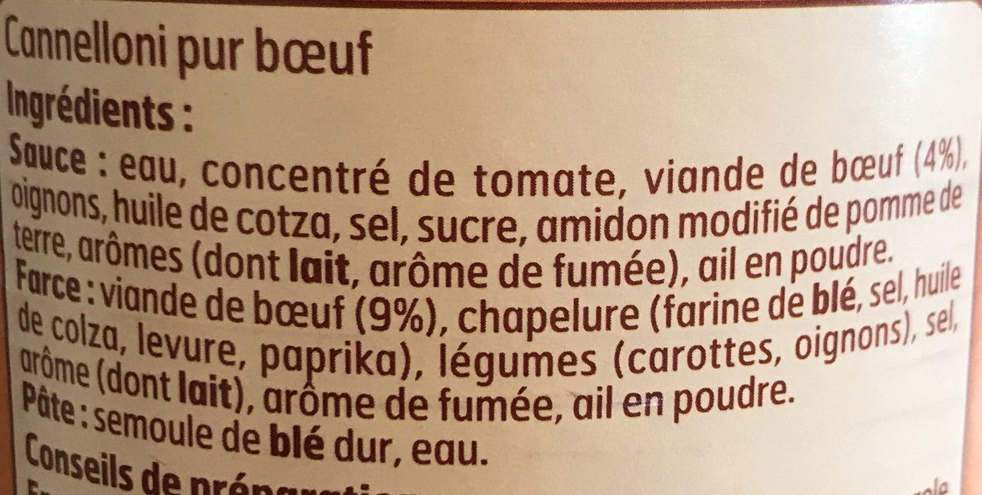Cannelloni pur boeuf - Ingrédients - fr
