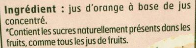 Jus d'Orange à Base de Jus Concentré - Ingrédients - fr