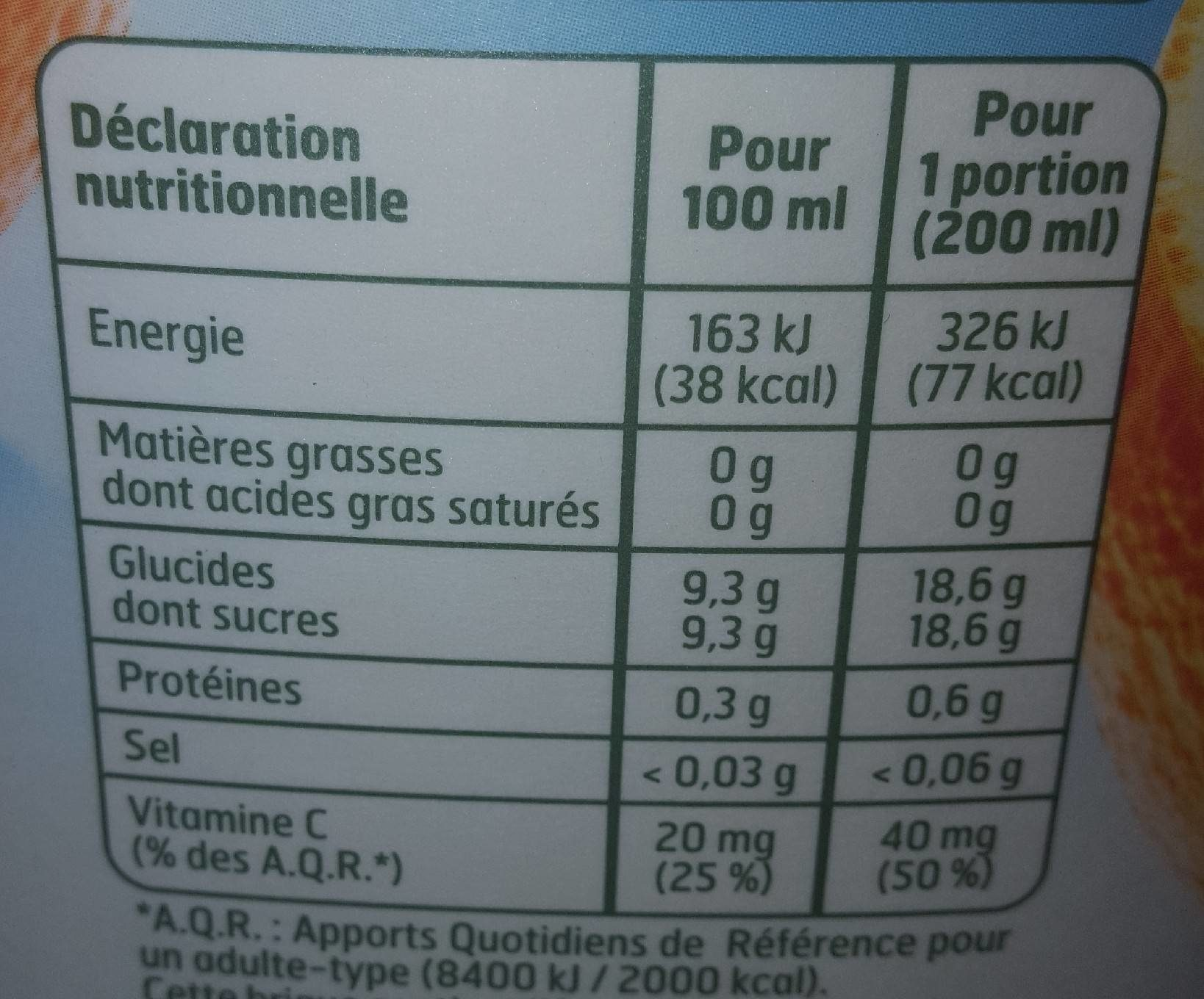 Nectar d'orange - Nutrition facts