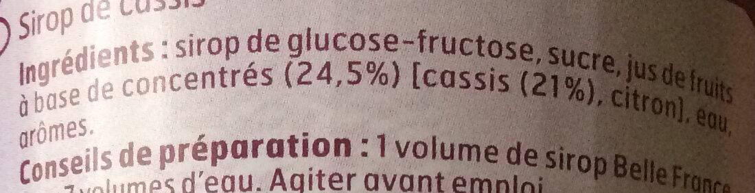 Sirop de Cassis - Inhaltsstoffe - fr