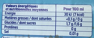 Pulpé light - Informations nutritionnelles