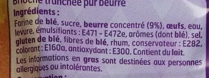 Brioche tranchée - Pur beurre - Ingredients - fr