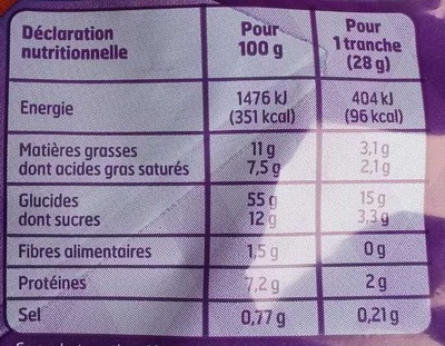 Brioche tranchée - Pur beurre - Nutrition facts - fr