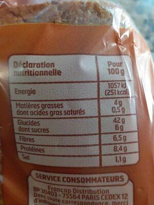 Pain de mie complet - Valori nutrizionali - fr