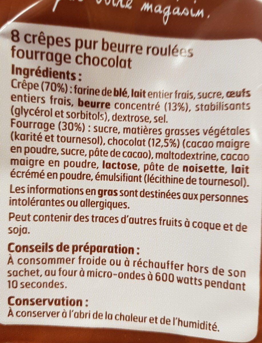 Crêpes Fourrées Chocolat - Ingrediënten