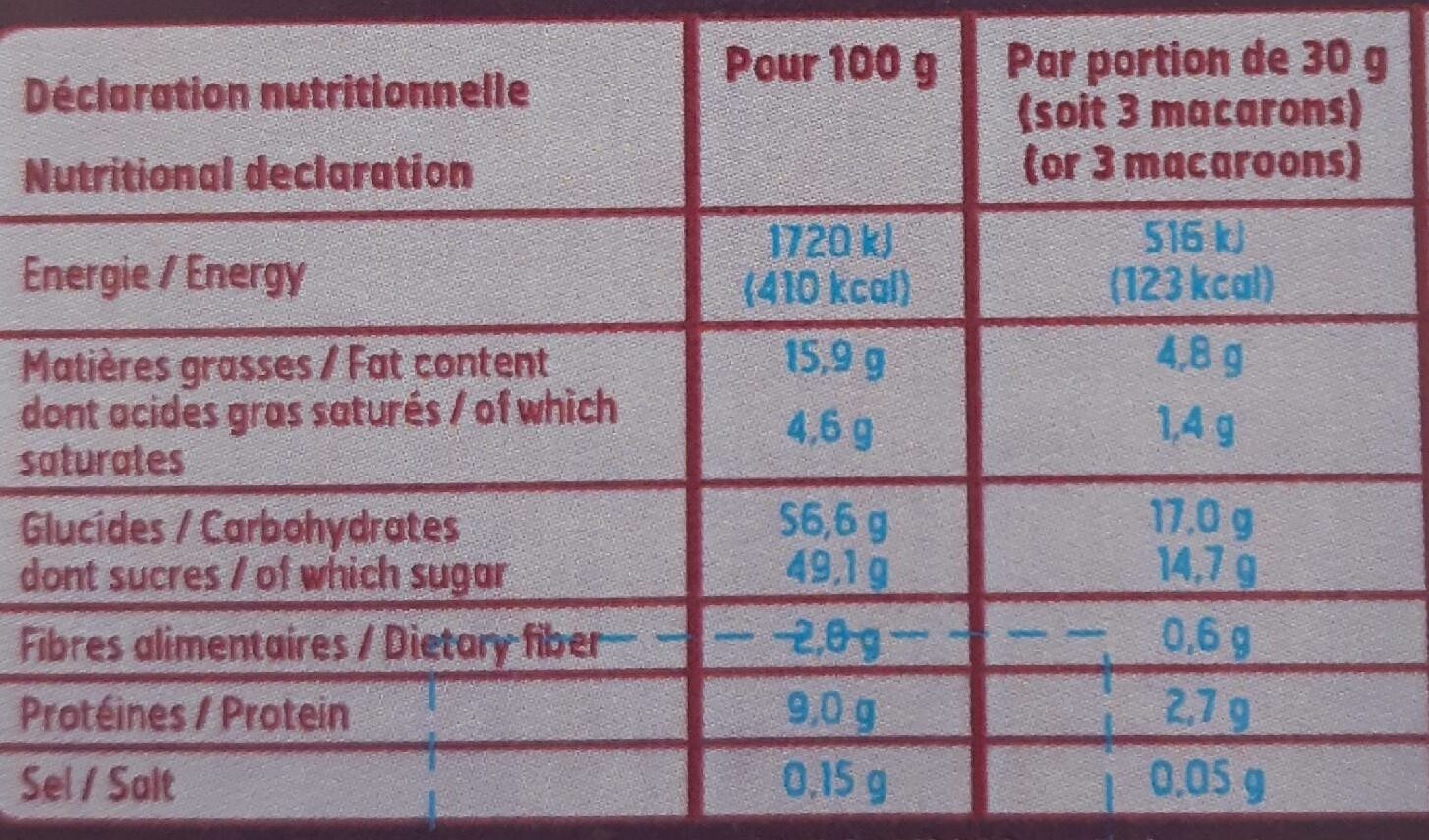 12 macarons - Informations nutritionnelles